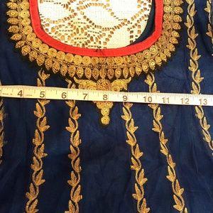 Gold red blue Anarkali Salwar Kameez